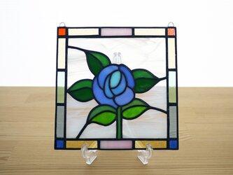 ステンドグラス ミニパネル ローズ青 15cmの画像