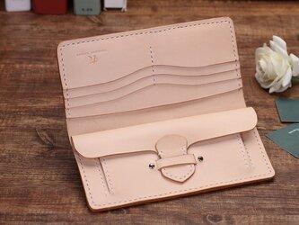 【切線派】牛革二つ折り手作り手縫い長財布002の画像