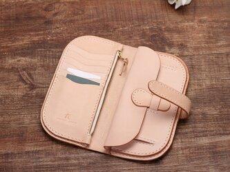 【切線派】牛革手作り手縫い収納長財布001の画像