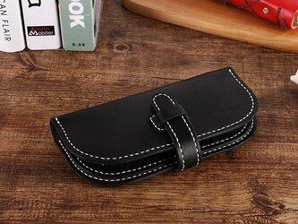 【切線派】牛革手作り手縫い収納長財布(001003)の画像