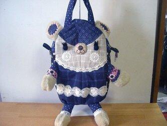 くまボストンBAG(立体タイプ)紺格子リネンと刺繍生地の画像