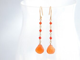 14KGF Carnelian Drop Earringsの画像