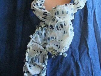 手織 手縫 藍染めネックレス 1の画像