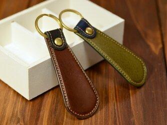 【カラーが選べる】 イタリアンレザーの靴ベラキーホルダーの画像