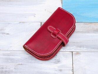 【切線派】牛革手作り手縫い収納長財布(001004)の画像