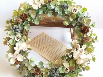 *紫陽花(ホワイト)×木の実* ナチュラルリース☆の画像