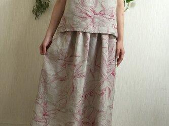 フランスアンティークリネン ギャザースカートの画像
