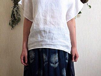 イタリー製リネン フレンチスリーブブラウスの画像