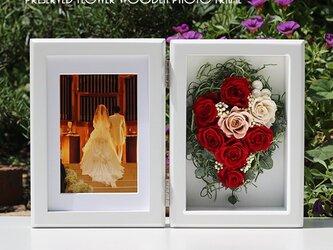 【送料無料】可愛くラッピング木製のフォトフレームMサイズ ルージュの画像