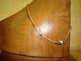ハンドメイド 古代チベット護符ビーズ&ターコイズ ネックレスの画像