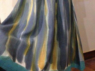手描き染め 日本製リネン差し色スカート▫︎受注制作▫︎の画像