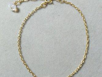 宝石質ホワイトトパーズ一粒ブレスレット(5ミリ)の画像