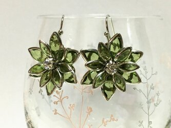 立体的な お花の耳飾り  ライトグリーンの画像
