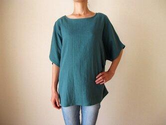 ダブルガーゼ(綿100%)のシャツ(オーシャングリーン)の画像