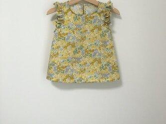 変形フリル袖トップス小花柄イエロー サイズ90の画像