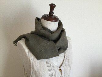 リネンのよもぎ染め手織りストール 《幅28》の画像