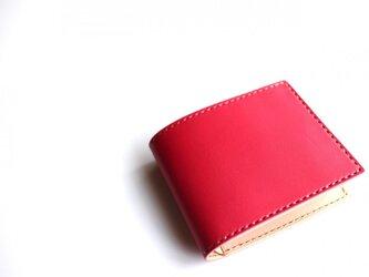 【受注生産品】二つ折り財布 ~姫路アニリンピンク×栃木サドル~の画像