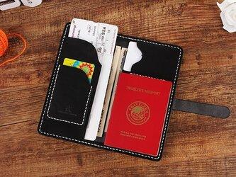 【切線派】牛革二つ折り手作り手縫いパスポート長財布(008003)の画像