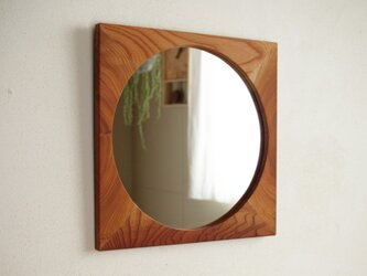 鏡「しかくに◯」欅材1 ミラーの画像