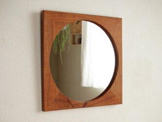 鏡「しかくに◯」桜材3 ミラーの画像