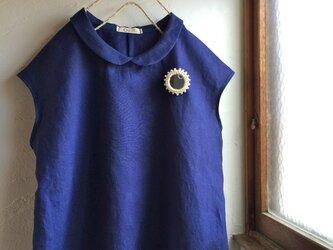 リネン100 丸襟 フレンチスリーブブラウス ネイビーの画像