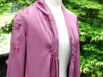 着物リメイク  正絹 ストールジャケット 赤紫の画像