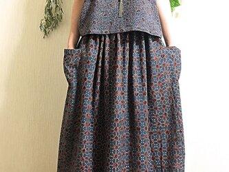 アジュラックプリント ギャザースカートの画像