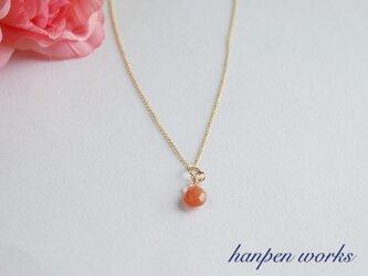 14kgf 宝石質 オレンジ ムーンストーン レンボームーンストーン ネックレスの画像