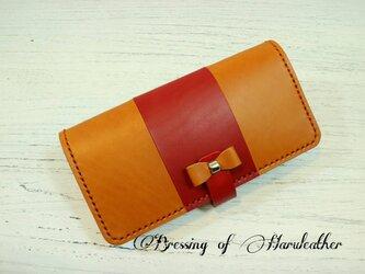 リボンフラップ 本革の長財布 カラーとデザインが選べます☆レザーロングウォレットの画像