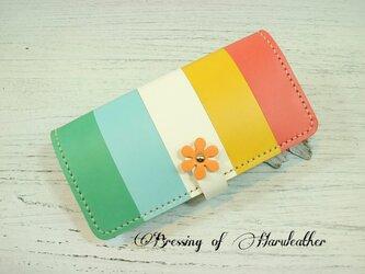 フラワーフラップ 本革の長財布 カラーとデザインが選べます☆レザーロングウォレットの画像