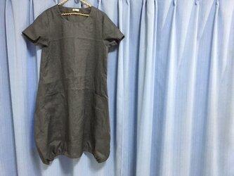 【即日発送】バルーンワンピ半袖★Lサイズ★リネン100%★ブルーグレーの画像