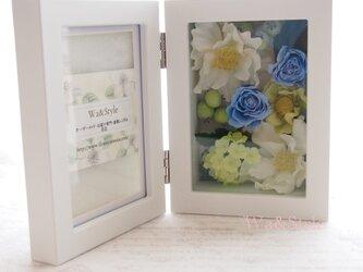 フォトフレーム(縦置)お花畑シリーズ・ライトブルーの画像
