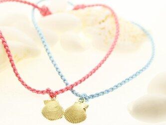 K18貝殻の絹紐ブレスレット - Kaiawaseの画像