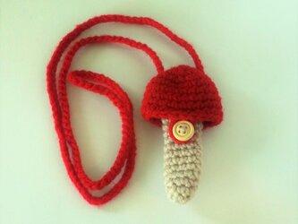 トランペット マウスピースケース(毛糸)キノコ型【赤】首掛け用の画像