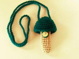 トランペット マウスピースケース(毛糸)キノコ型【青緑】首掛け用の画像