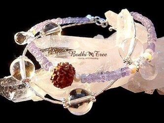 ヒマラヤ水晶&タンザナイト&パール・2連ブレスレットの画像