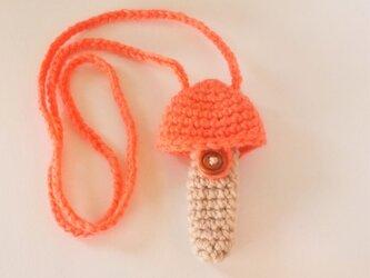 トランペット マウスピースケース(毛糸)キノコ型【サーモンピンク】首掛け用の画像