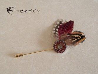 チェコ製ガラスボタンと羽根のハットピン(A)【送料無料】の画像