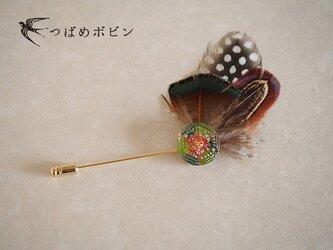 チェコ製ガラスボタンと羽根のハットピン(C)【送料無料】の画像