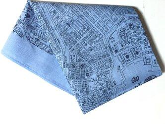 古地図が好き♪ 江戸古地図バンダナ水色の画像