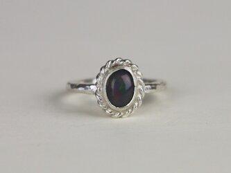 古代スタイル 天然ブラックオパール*指輪* 9.5号の画像
