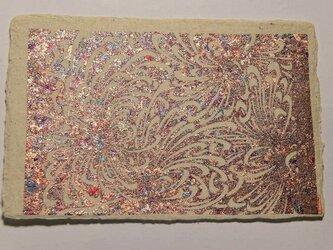 ギルディング和紙葉書 乱菊 赤混合箔の画像