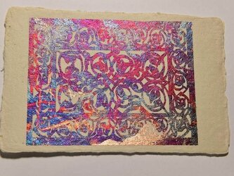 ギルディング和紙葉書 レース 赤混合箔の画像