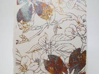 ギルディング和紙葉書 櫻 黄混合箔の画像
