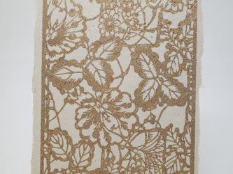 ギルディング和紙葉書 花園 黄混合箔の画像
