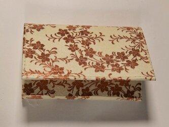 ギルディング和紙カードケース 桔梗白地銅箔の画像