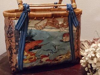 一閑張りバッグ 国芳浮世絵&柿渋仕上げの画像
