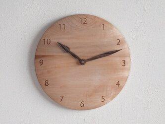 木製 掛け時計 丸 栃(トチ)材4の画像