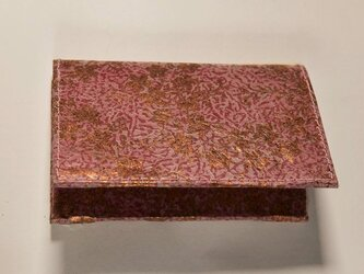 ギルディング和紙カードケース 桔梗赤地銅箔の画像