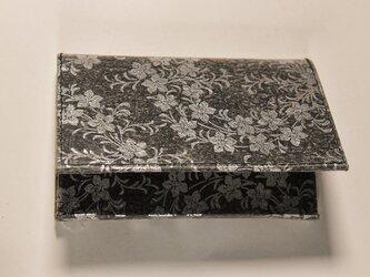 ギルディング和紙カードケース 桔梗黒地銀箔の画像